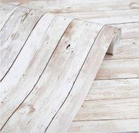벽지 17.7 * 393.7 자기 접착식 이동식 나무 껍질 및 스틱 장식 벽 덮고 빈티지 패널 인테리어 필름