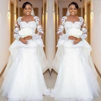 2021 Africano Plus Size Sirena Abiti da sposa gioiello collo pizzo Appliques perline maniche lunghe Peploum sweep treno Dubai Abiti da sposa