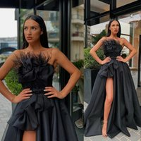 2021 Arabic Sexy Black Evening Dresses Strapless Sleeveless With Feather Side High Split Ruffles A Line Satin Plus Size Prom Dress Special Occasion Gowns