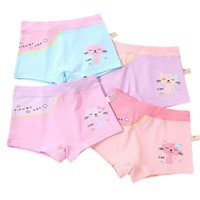 Panties Kids Girls Cotton Boxer Briefs Cute Cartoon Meow Cat Printed Toddler Underwear Contrast Color Boyshorts 2-12Year