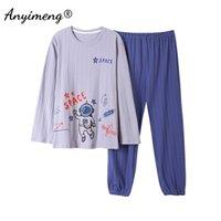 Mens Casual Pyjamas Set Platz Drucken Weiche Baumwolle Nachtwäsche für Männer Home Anzüge SpringAutumn Lounge Tragen Trendy Herren Pyjamas 210901