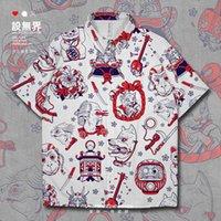 Men's Casual Shirts Japanese Ukiyo Elements Illustration Lucky Cat Tumbler Dragon Head Harajuku Style Short-Sleeved Shirt Summer Clothes