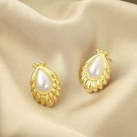 Bohemia Pearl Stud Earrings Metal Boutique Gold Earrings Luxury Waterdrop Earing For Women Fashion Jewelry Party Gift