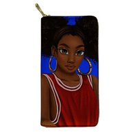 Wallets HYCOOL Purse Women Afro Art Black Girl Basketball Sports Suit Pattern Long PU Wallet Female Waterproof Clutch Phone Bags Pouch