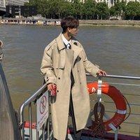 Мужские траншеи Носить 2021 Весна Мода Красивая ветровка Trend Trend Overcoat Свободное длинное пальто для мужчин Overkee 9Y880