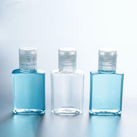 15 ملليلتر 30 ملليلتر اليد المطهر زجاجة بلاستيكية الحيوانات الأليفة مع فليب أعلى غطاء مربع مربع للمكياج سائل مطهر غسول