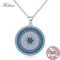 Kaletine 925 الفضة الاسترليني القلائد التركية الكبيرة الأزرق حجر الشر العين جولة قلادة المرأة قلادة شخصية الرجال المجوهرات 210315