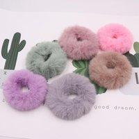 Hair Accessories Fashion Girls Elastic Faux Fur Scrunchie Rope Mink Ponytail Holder Plush Ring T19