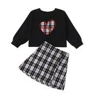 Opperiaya Kid Baby Girls 의류 발렌타인 데이 세트 격자 무늬 심장 인쇄 긴 소매 탑 및 스커트 2PC 스프링 슈트 휴가