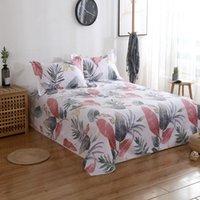 Conjuntos de ropa de cama Hojas de cama 100% algodón Hoja plana de doble flor Twin Full Reina King Tamaño Rosa 3 unids Diente de león Funda de almohada