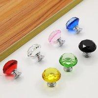 Diamond Crystal Glass Door Knobs Handles Knob Screw Fashion 30mm Drawer Cabinet Screws Furniture Accessories DWA7833