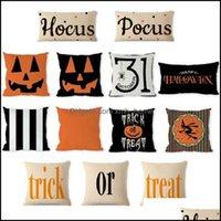 Bedding Supplies Textiles & Gardenhalloween Decorative Abstract Pumpkin Treat Or Trick Home Decor Square Throw Pillow Case Ers Cotton Linen