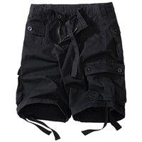 كبيرة الحجم 5xl 8xl الصيف الرجال فضفاضة متعددة جيب السراويل العسكرية عالية الجودة القطن الأخضر عارضة الرجال لا الحزام 210729