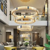 American Ring LED Crystal Chandeliers Pendant Lights Postmodern Modern Luxury Lamps Lighting for Duplex Living Room Villas Stairs AC 110V-240V Fixtures