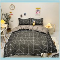 Supplies Textiles Home & Gardenstyle-Gray High Quality Bedding Double Sanded Quilt Er Sheet Pillowcase Four-Piece Set Sets Drop Delivery 202