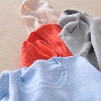 Tees de los tejidos de la mujer a medida Ovejas Cachemira Lana Trui Mujeres Efectos Color Dunne Camisa básica O-cuello Boca larga Sujetadores 0723