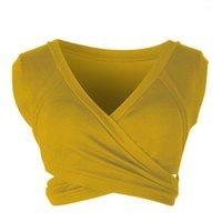 Criss Cross Голый Midriff Crop Top Tain Tops Tops Solid Color underwaist Женщины без рукавов Наряды Camis Женщина DFF3954