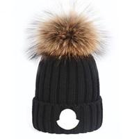 Beanie POM Beanie Yeni Kış Kapaklar Şapka Kadın Bonnet Kalınlaşmak Kasketleri Ile Gerçek Rakun Kürk Ponpons Sıcak Kız Kapaklar Ponpon Beanie Beanies