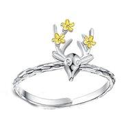 Moda coreana Antller Deer Elk Anillo Apertura Sika Ciervo Anillo Joyería Regalo