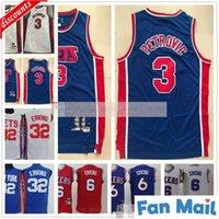 Retro Mens Alex 3 Petrovic Jersey Billig Basketball Julius 32 Erntes blau weiß rot 6 Ernterrikas Größe S-XXL