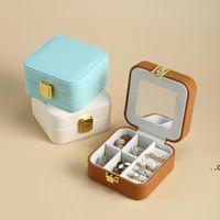 Jewelry Box Portable Storage Bags Boxes Earring Ear Studs PU Leather Large Capacity Jewel Case Women Organizer EWB8966