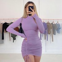 Casual Dresses 2021 Fashion Women's Autumn Sexy Bodycon Mini Dress Long Sleeve Stand Neck Solid Color Drawstring Ruched Club Party