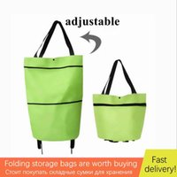 Storage Bags Foldable Shopping Cart With Wheels Trolley Bag Grocery Rolling Reusable Vegetable