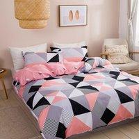 침구 세트 집 세트 홈 트윈 크기에 대 한 지오메트리 이불 커버 노르딕 침대 150 더블 격자 무늬 베개 케이스 킹 단일 섬유 침실 핑크