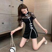 Luxus Cheongsam Mode Anzug Weibliche Sommer Hepburn Small Black Rock Französisch Verbesserte Cheongsam Spitze DRS Zwei Stück Set Mode