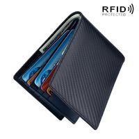 Cüzdan RFID Karbon Fiber Hakiki Deri Erkekler Cüzdan Para Çantası Ince Ince Mini Kart Sahibinin Çantalar için Kısa Erkek Walet Siyah