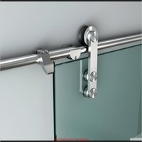Diyhd 5ft-10ft Easy Installieren Edelstahl gebürstetes Gleitglas Scheune Türspur Hardware für Bolzen Wall QDZ7F F4YOE