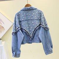 Women's Jackets Spring Autumn Vintage Pearl Beaded Casual Denim Jacket Women Long Sleeve Tassel Loose Jean Bomber Coat Basic Outwear