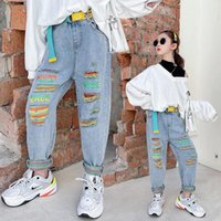 Jeans Children's Clothing Korean Girls Hole High Waist With Belt Kids Denim Trousers Ripped Pants For Teen 5-14Yrs