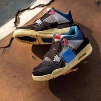 AJ 4 Jumpman 4S Zapatos de baloncesto Travis Scotts Retro Jordon US13 Hombres intrépidos Hyper Royal University Blue Obsidian UNC Backboard 3.0 Deportes 36 ~ 47 con caja