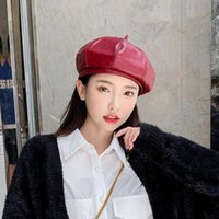 Beanies Black Red Lady Vintage Casual Paris Hat Fashions Winter Warm Flap Cap Faux Leather Solid Beret French Artist PU Women