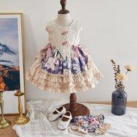 Girl's Dresses 2pcs Baby Girl Spain Floral Dress Children Royal Lolita Infant Birthday Baptism Ball MZL067