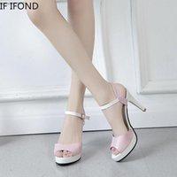Sandalen, wenn If. IFING 2021 Sommer High 9 cm Heels Frauen offene Zehen Knöchelgurt Pumps Süße Kristall Bling Elegante Damen Party Schuhe
