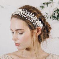 Cosnoble Sparkly Accessori per capelli Pearl Vine Pantalone Bridal Capelli Gioielli per le donne Tiara Rhinestone Baroque Fascia