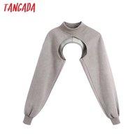 Tangada Women Design Crop Sweatshirts Oversize Long Sleeve O Neck Loose Pullovers Female Tops BE124 X0629