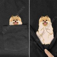 Pomeranian جيب تي شيرت الصيف مطبوعة تي شيرت الرجال للنساء قمم القطن الأسود مضحك قصير الأكمام قطرة 210726