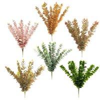 10 PCS Planta artificial Plástico Eucalipto Árbol Rama de árbol para Navidad Decoración de la boda Arreglo de flores Follaje Faux