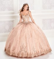 2020 Ball Gown Quinceanera Dresses Beaded Bodice Corset Lace Appliqued Prom Dress Cap Sleeves Gorgeous Evening Gowns Party Wear L