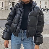 다운 재킷 여성 겨울 코트 코트 여성 두꺼운 짧은 파카 패션 복어 PU 가죽 우아한 여성의 S