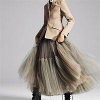 90 cm Pist Lüks Yumuşak Tül Etek El Yapımı Maxi Uzun Pileli Etekler Bayan Vintage Petticoat Vual Jupes Falda 210202