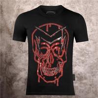 Lüks Tasarımcı Moda Eğlence Yaratıcı erkek PP Kafatası Sokak Kişilik T-shirt 2021 Yaz Katı Renk Büyük Desen Baskı Sıcak Drilli