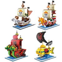 DIY Mini Строительные Блоки 3D Микро Алмазный Кирпич Для Один Piece Пиратский Корабль собирается веселые тысячи солнечных Mobydick Onepiece Q0723