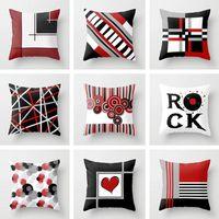 Taie d'oreiller Creative Noir Blanc Blanc Rouge géométrique Polyester Super Soft Tissu Taille Square Toge Coussin Coussin House Décor 45x45cm