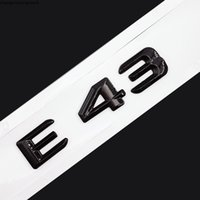 원래 크기 1 : 1 자동차 리어 꼬리 엠 블 럼 번호 문자 자동차 스티커 Mercedes Benz E43 E 43 크롬 실버 매트 블랙