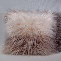 Cushion Decorative Pillow Korea Luxury Fluffy Fur Patchwork Plush Cushion Cover Soft Case Sofa Bed Car Home Room Dec Wholesale FG1388