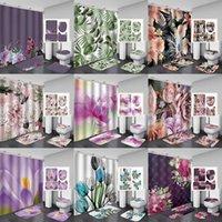 4 pçs / set acessórios do banheiro Curtain Curtain Curtain Seat em forma de U-em forma de esteira do banheiro tapete, 9 tipos de estilo vegetal AHE5187